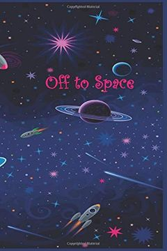"""portada Off to Space: 120 Page Softcover, has Lined and Blank Pages With Astronaut Pictures, College Rule Composition (6"""" x 9 """") Midnight Purple Planets (libro en inglés)"""